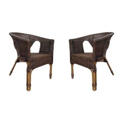 Fox Hill Trading Rattan Living Wicker Dining Chair (Set of 2) (Set of 2)