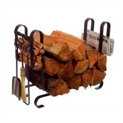 Large Modern 3 Piece Steel Fireplace Tool Set with Log Rack