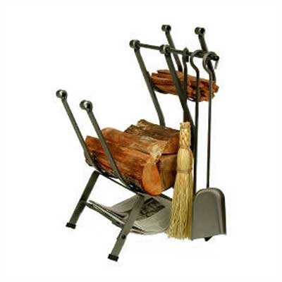 Enclume Front-Loading 3 Piece Steel Fireplace Tool Set with Log Rack