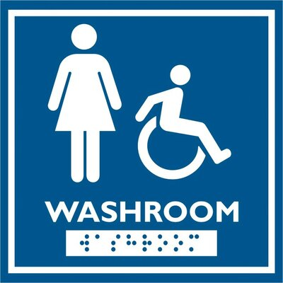 Frost Products Female and Wheelchair Symbol with Braille Emboss