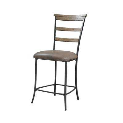 Hillsdale Furniture Charleston Ladder Back Non-Swivel Counter Stool in Distressed Desert Tan (Set of 2)