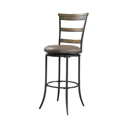 Hillsdale Furniture Charleston Ladder Back Swivel Counter Stool in Distressed Desert Tan