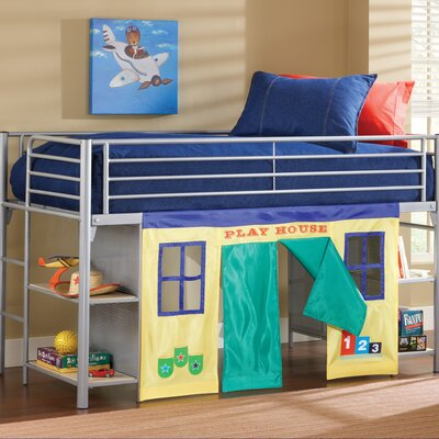 Hillsdale Furniture Universal Junior Twin Low Loft Bed with Bookshelves and Built-In Ladder