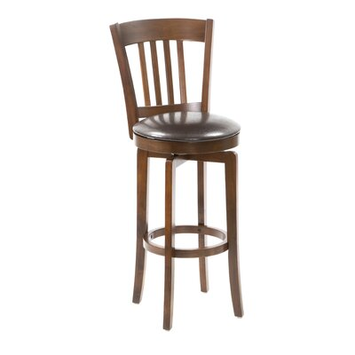 Hillsdale Furniture Canton Swivel Bar Height Barstool with Vinyl Seat in Brown