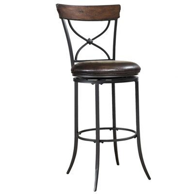 Hillsdale Furniture Cameron X-Back Swivel Counter Stool in Distressed Chestnut Brown