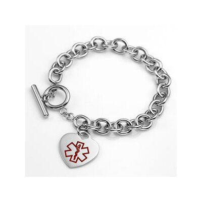 Diabetes Medical Alert Heart Link Bracelet