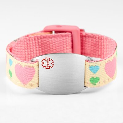 Children's Hearts Sport Strap Bracelet with Medical ID Tag