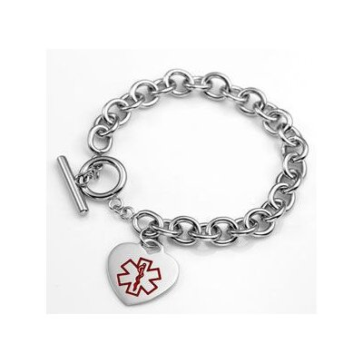 Medical Alert ID Heart Charm Bracelet