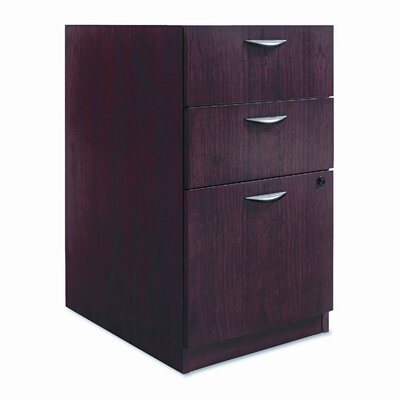 Basyx by HON Three-Drawer Pedestal File, 15-5/8w x22d x 27-3/4h, Mahogany
