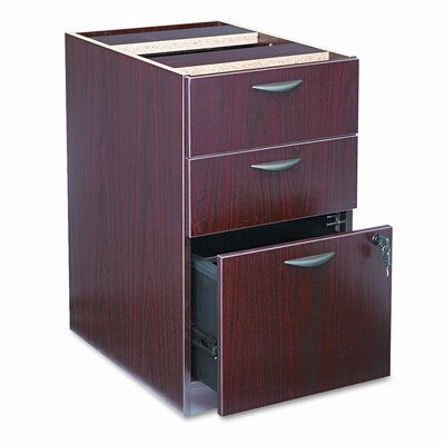 Basyx by HON Three-Drawer Pedestal File, 15-5/8w x21-3/4d x 27-3/4h, Mahogany