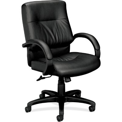Basyx by HON Series Midback Leather Manager Chair with Padded Arms