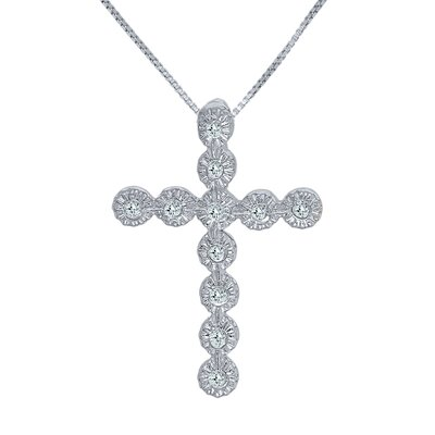 JewelExcess Sterling Silver Cross Diamond Pendant