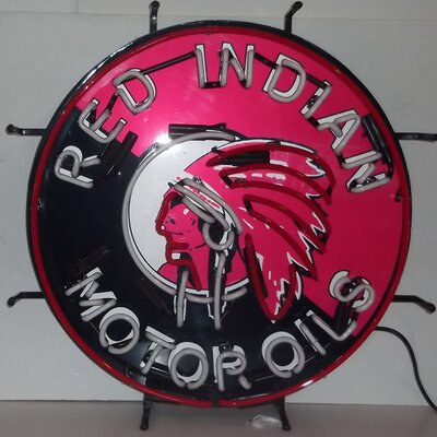 Neonetics Red Indian Motor Oils Neon Sign