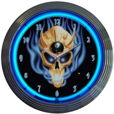 "Neonetics 15"" 8 Ball Skull Wall Clock"
