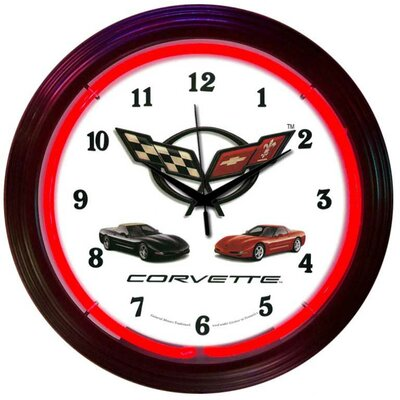 "Neonetics Cars and Motorcycles 15"" Corvette Wall Clock"