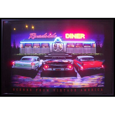 Roadside Diner Neon LED Framed Vintage Advertisement