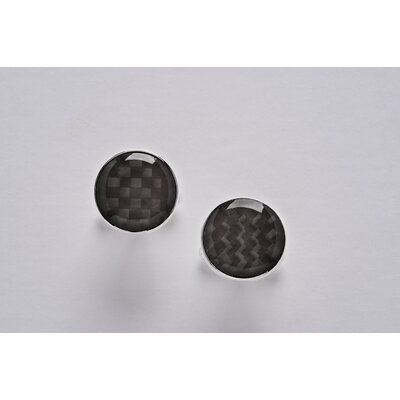 Newport Sterling Sterling Silver and Carbon Fiber Round Cuff Link Set