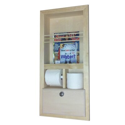 WG Wood Products Recessed Magazine Rack with Double Toilet