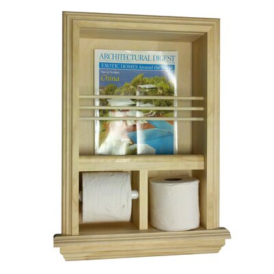 Recessed magazine rack and toilet paper holder wayfair for Recessed in the wall bathroom magazine rack