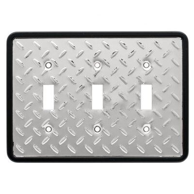 Brainerd Diamond Plate Triple Switch Wall Plate