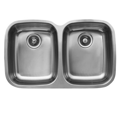 "Ukinox 32.75"" x 20.5"" Double Bowl Undermount Kitchen Sink"