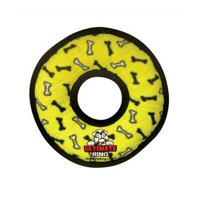 Tuffy's Pet Products Ultimate Ring Dog Toy in Yellow Bones