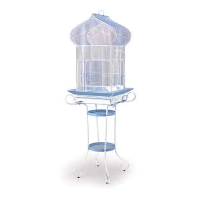 Kasbah Roof Tiel Cage with Stand in Blue/White