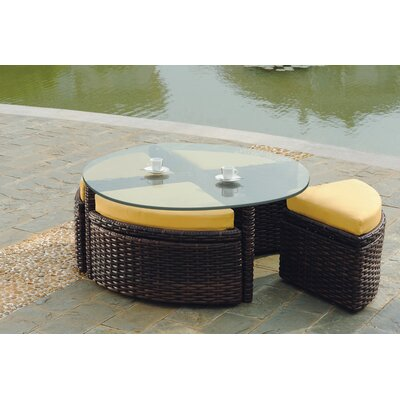 South Sea Rattan Saint Tropez Wicker Round Sushi Table with Ottoman
