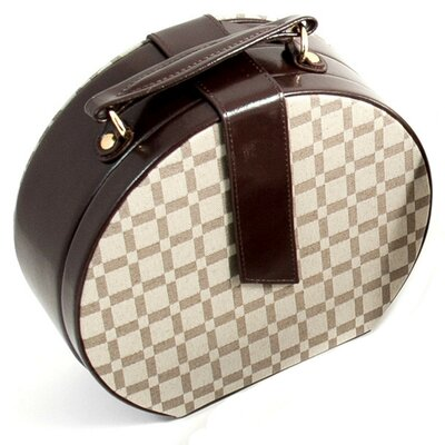 "Bey-Berk 8.5"" Jewelry Box with Two Tone Fabric and Brown Leather Accents"