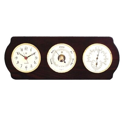 Bey-Berk Wall Clock with Barometer, Thermo and Hygrometer