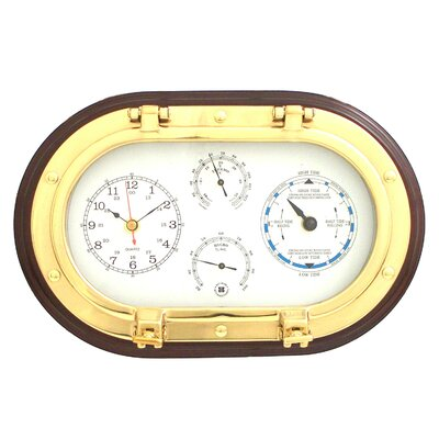 Bey-Berk Brass Porthole Clock,Tide Clock,Thermometer, and Hygrometer