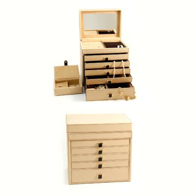 Bey-Berk Jewelry Chest in Tan Leather