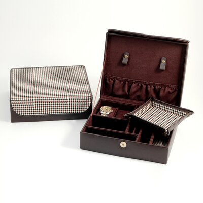 Bey-Berk Men's Jewelry Box in Brown Leather and Two Tone Fabric with Travel Valet