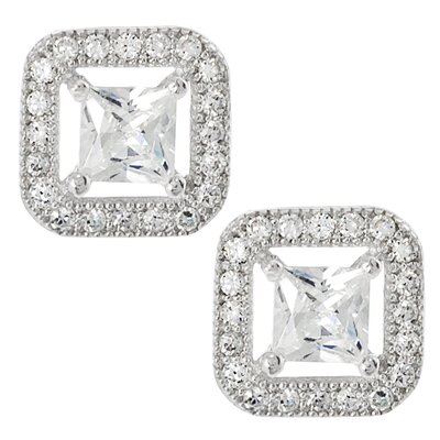 Square Cut Cubic Zirconia Stud Earrings