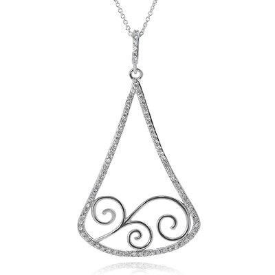 Tressa Collection Sterling Silver Filigree Cubic Zirconia Pendant