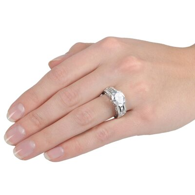 Tressa Collection Sterling Silver Oval Cut Cubic Zirconia Engagement Ring