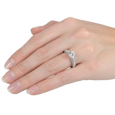 Tressa Collection Sterling Silver Round Cut Cubic Zirconia Engagement Ring