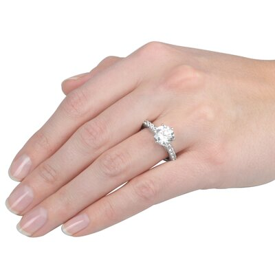 Tressa Collection Sterling Silver Round Cut Cubic Zirconia Engagement Style Ring