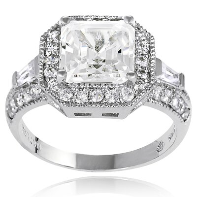 Sterling Silver Asscher Cut Cubic Zirconia Engagement Ring