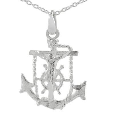 Sterling Silver Anchor and Cross Necklace