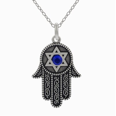 Sterling Silver Hamsa with Star of David Cubic Zirconia Necklace