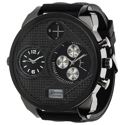 Geneva Platinum Men's Silicone Strap Subdial Watch