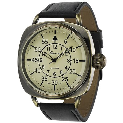 Geneva Platinum Men's Square Case Vintage Watch