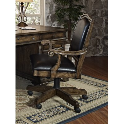 San Andorra Mid-Back Leather Office Chair with Arms