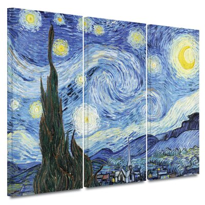 Art Wall 3 Piece 'Starry Night' Gallery-Wrapped Canvas Art by Vincent van Gogh
