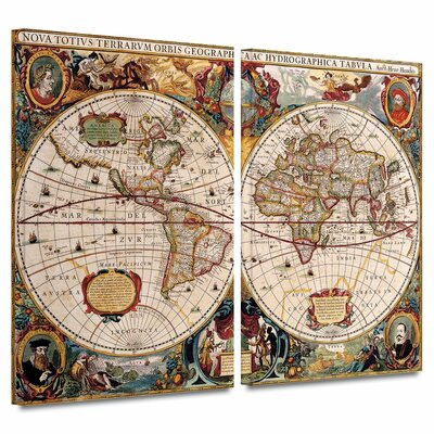 2 Piece 'A New and Accurate Map of the World' Gallery-Wrapped Canvas Art by Henricus ...