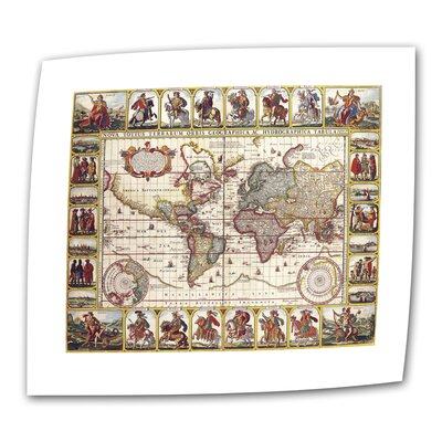 Art Wall Antique Maps 'Nova Totius Terrarium Orbis Geographica ac Hydrographica Tabula' Unwrapped Canvas Wall Art
