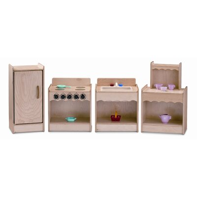 Jonti-Craft Toddler Contempo Wood Play 4 Piece Kitchen Set