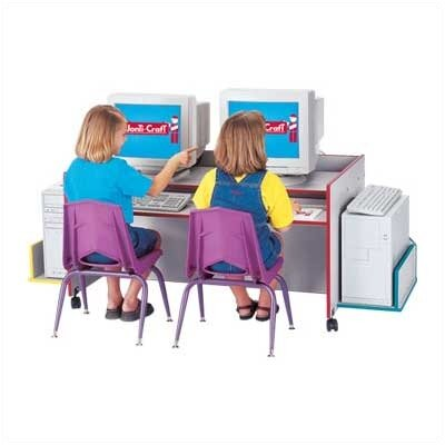 "Jonti-Craft ThriftyKYDZ 48"" W Double Computer Desk with Rainbow Accents"