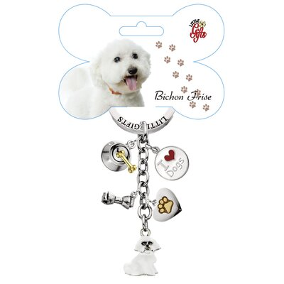 Little Gifts Bichon Frise Enamel Key Chain
